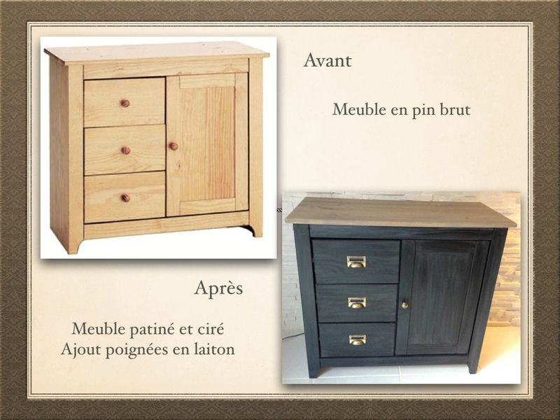 un meuble en bois brut commode en pin massif peinte en gris patin plateau with meuble en pin. Black Bedroom Furniture Sets. Home Design Ideas