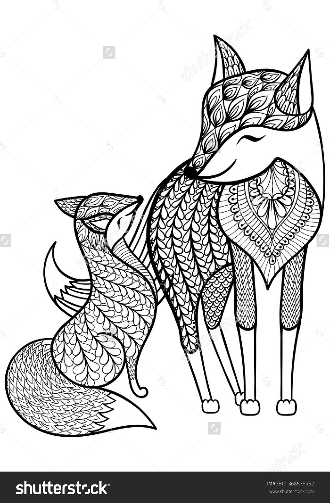 Free coloring pages for young adults - Royalty Free Hand Drawn Fox With Young Child Pattern 368575952