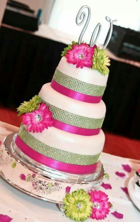Hot Pink & Lime Green Wedding Cake | awesome cakes | Pinterest ...