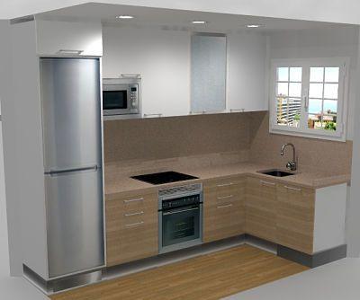 reforma de una cocina de reducidas dimensiones y con distribucin en l para conseguir una cocina - Distribucion Cocina