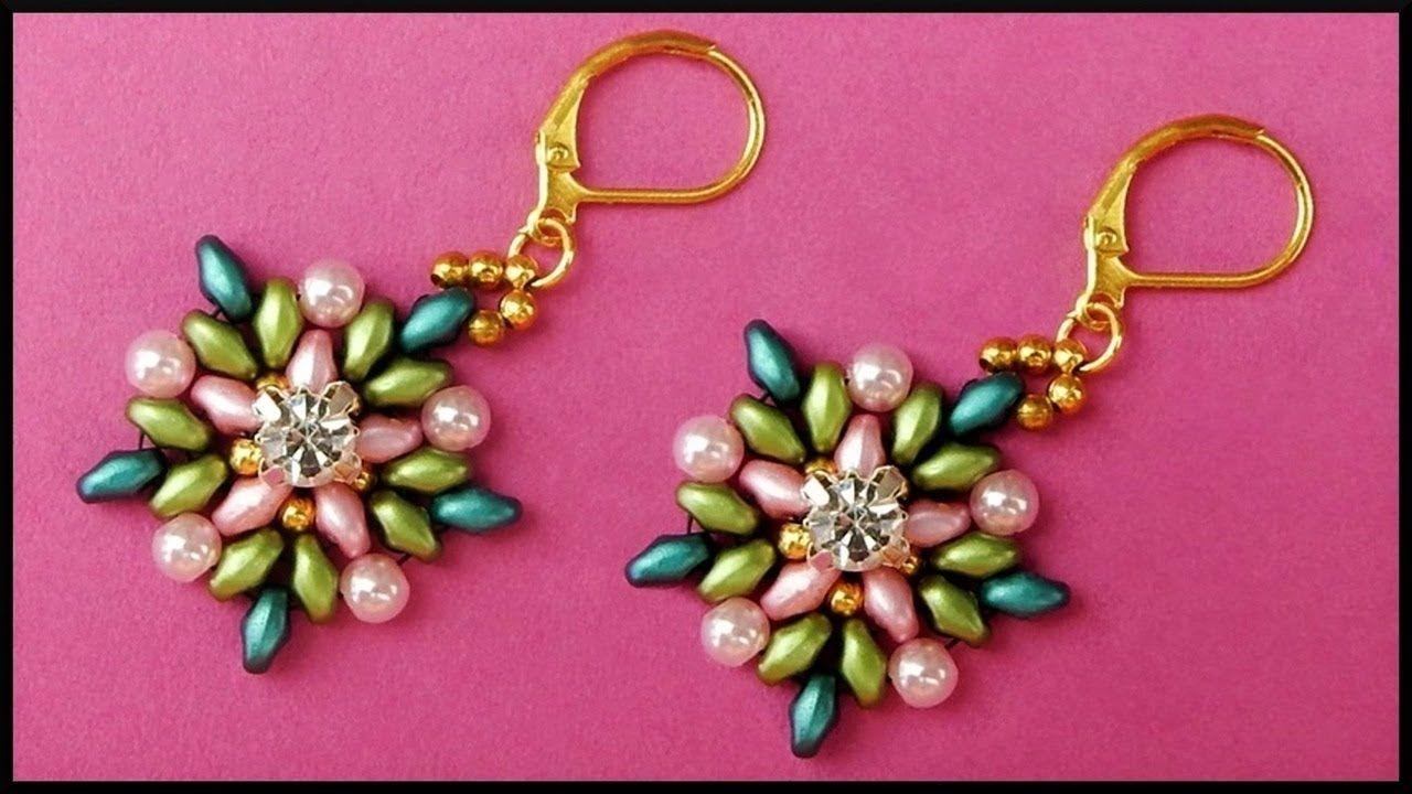 Diy Beaded Twin Beads Flower Earrings With Rhinestone Beadwork Jewelry Blumen Perlen Ohrringe Youtube Bead Work Jewelry Paper Bead Jewelry Bead Work