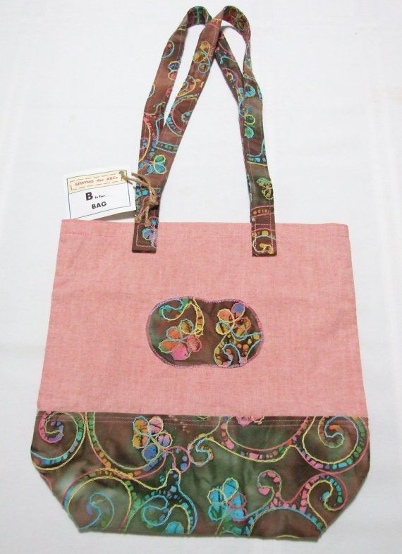 d487457694 FOLDING Tote Bag with BATIK Fabric on Pink Linen . . .  20 . . . by ...