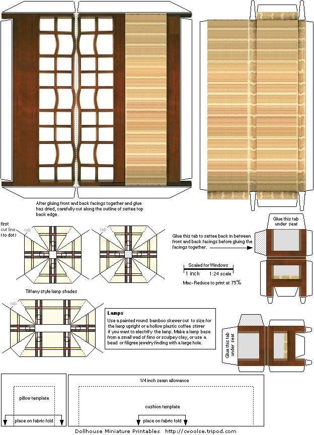 Arts And Crafts Movement Printable Doll House Furniture In 1 2 Inch Scale Diy Dollhouse Furniture Dollhouse Furniture Doll House