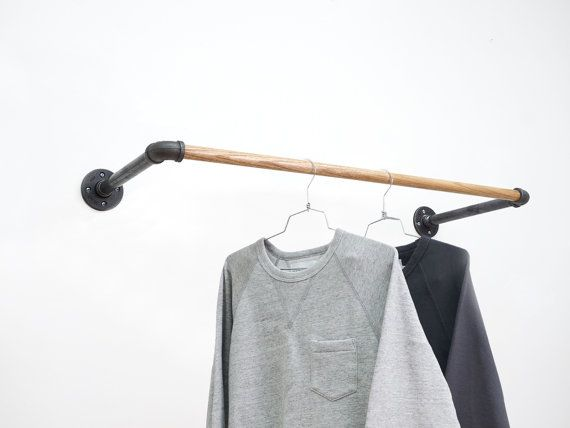 This Is A Custom Made Black Steel And Oak Wall Mount Clothing Rack Aka The U Stylish For Your Great