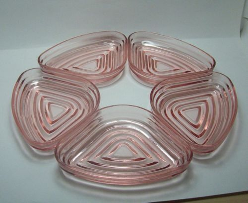 Manhattan Pink Depression Glass Set of 5 Relish Tray Inserts $28