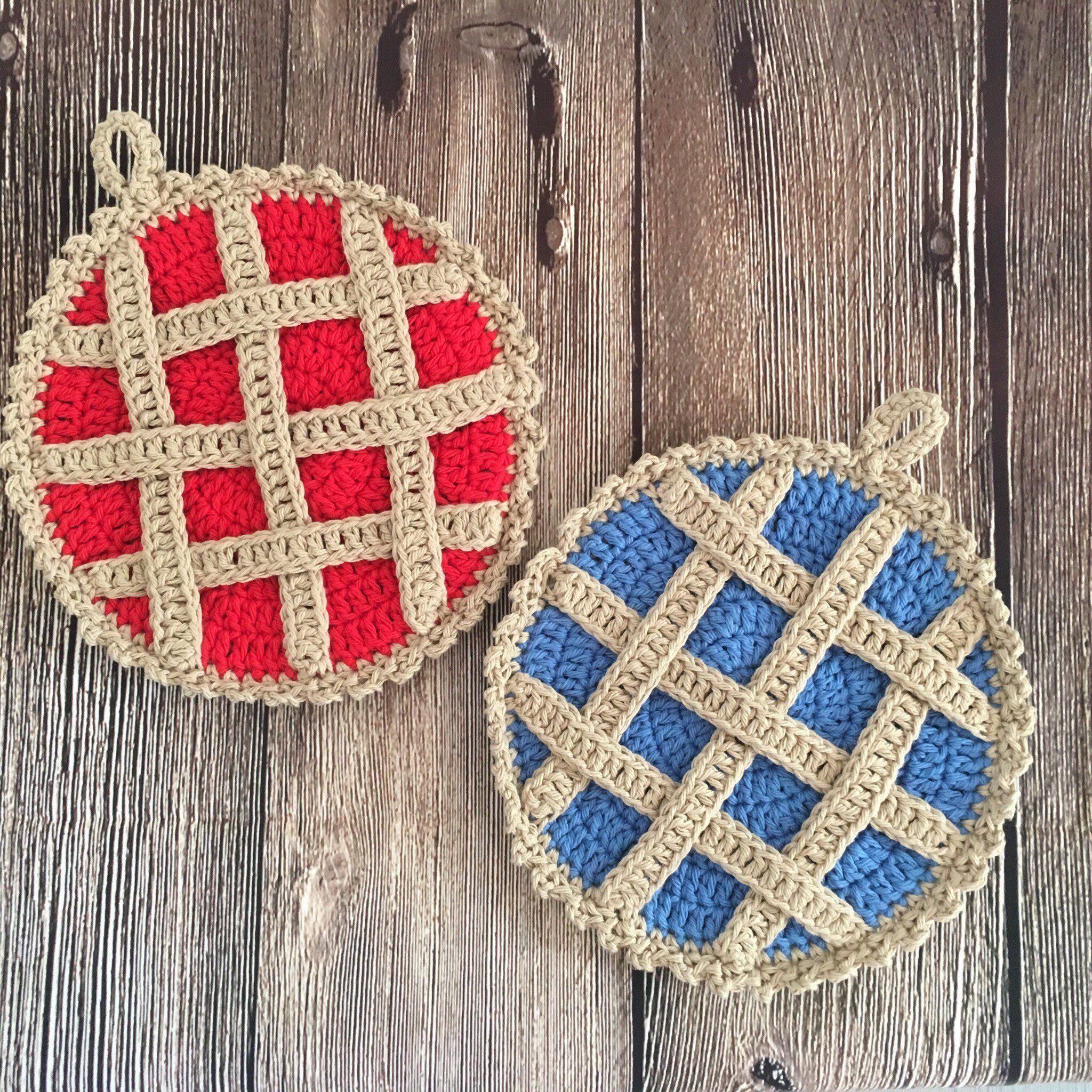 Crochet Pie Pot Holder Trivet In Cherry Pie And Blueberry Pie