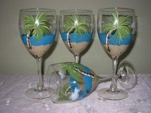 Beach Themed Wine Bottle Decor Hand Painted Palm Trees Beach Wine