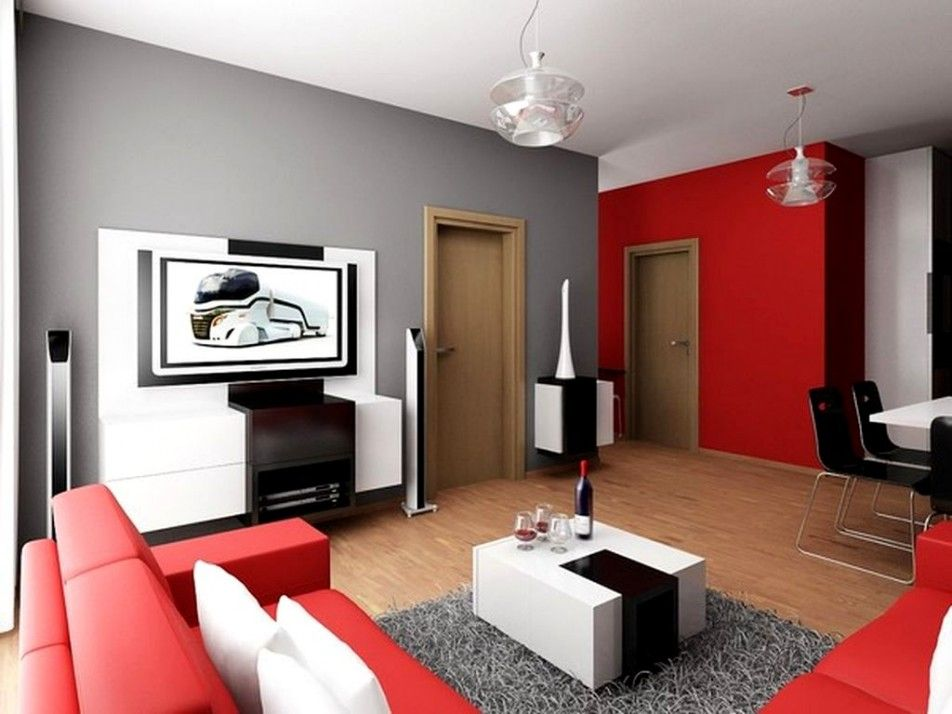 Comely Living Room Decorated With Grey And Red Wall Paint Color Wooden Flooring Also White