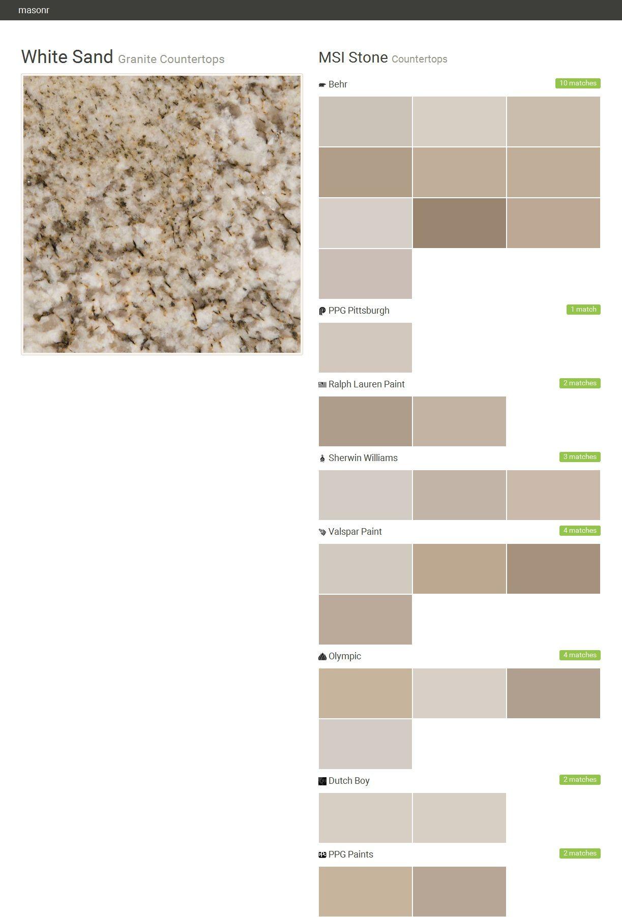 Nice White Sand. Granite Countertops. Countertops. MSI Stone. Behr. PPG  Pittsburgh.