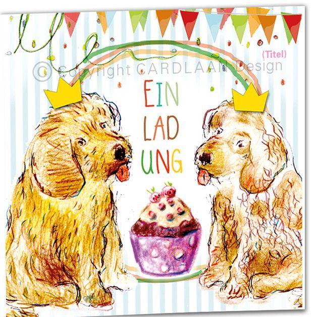 Einladung Geburtstag Zwillinge Klappkarte 2 Hunde
