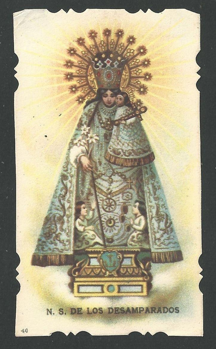 Estampa antigua Virgen de los Desamparados andachtsbild santino holy card   eBay
