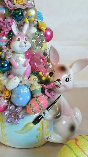 Vintage 1959 Samson Import Easter Bunny Planter Bottle Brush Tree
