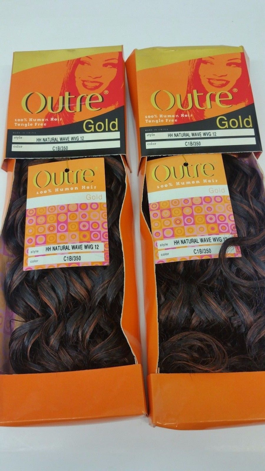 2 Packs Of 12 Outre Gold Natural Wave Weave 100 Human Hair Color