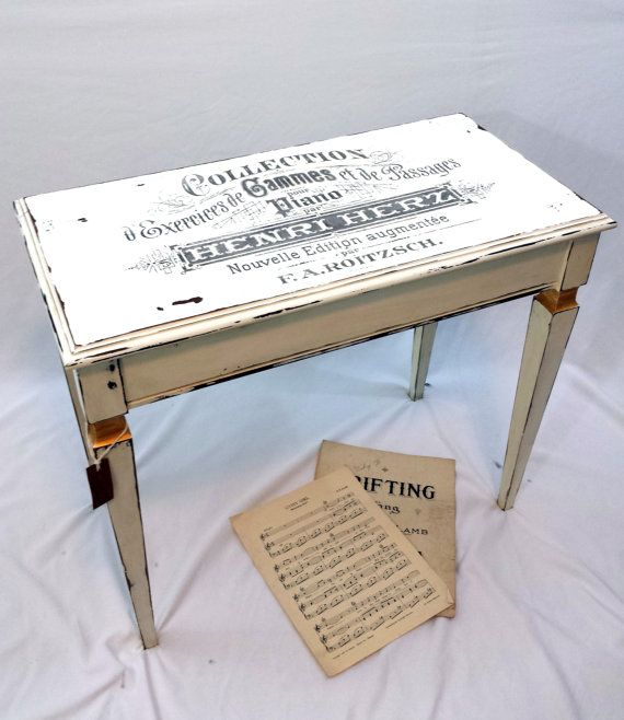 Vintage Piano Bench, White Distressed Vanity Bench With Storage, French  Chic Piano Stool