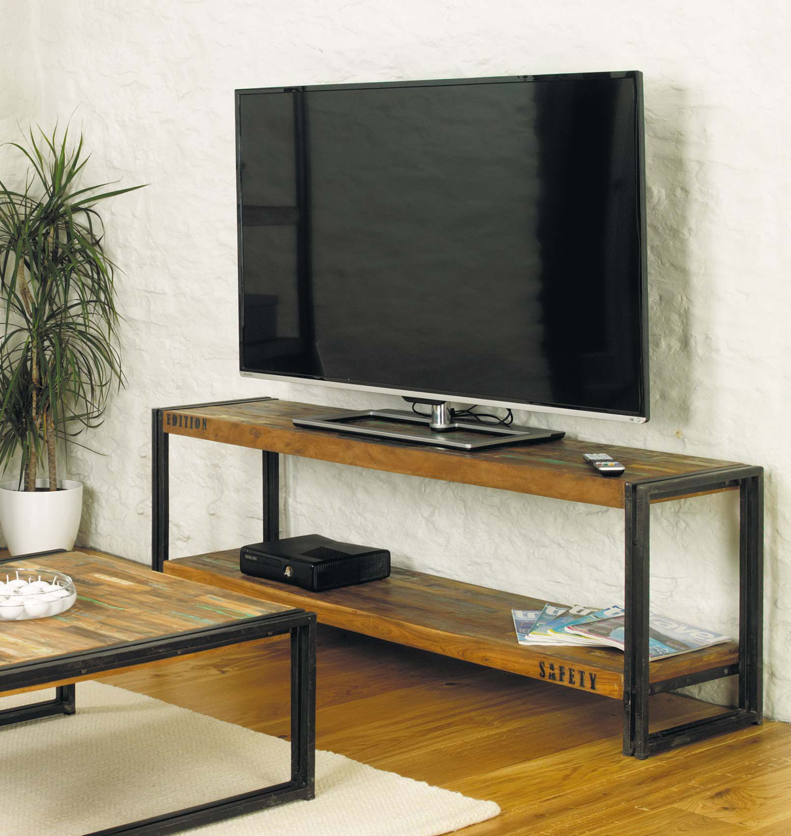 industrial tv stand with metal legs and reclaimed wood