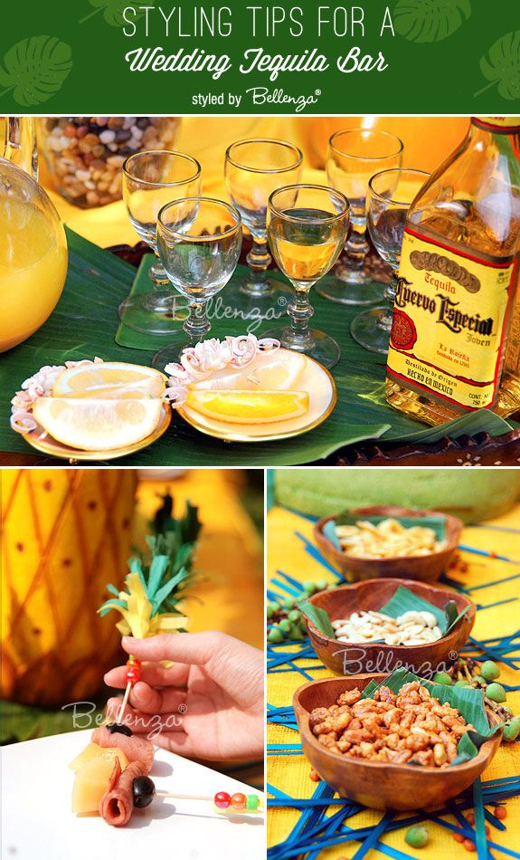 styling and appetizer ideas for a wedding tequila bar