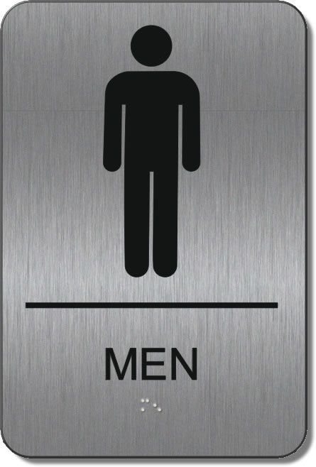 Ada Men S Restroom Signs With Braille Brushed Metal Ada Signs