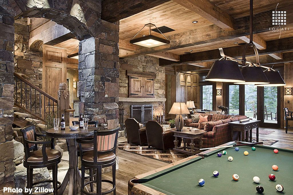 Traditional Man Cave With A Brick, Wood Burning Fireplace, Brick Boulders  All Around, Hardwood Floors, A Pool Table And Rustic Touches.