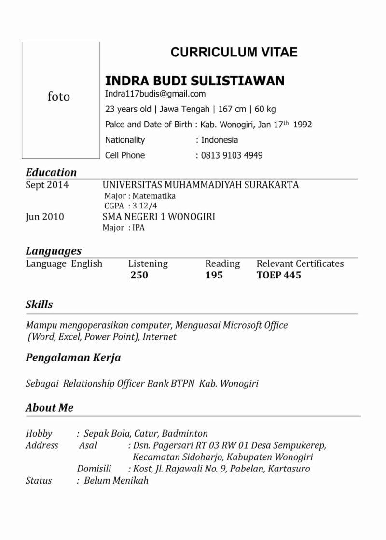 Contoh Cv Indonesia di 2020 Riwayat hidup, Creative cv