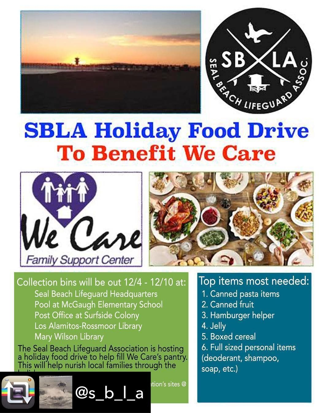 Hello Everyone We Re Hosting A Food Drive To Benefit We Care 12 4 12 10 There Will Be Collection Bins At Hq The Mcgaugh P Holiday Recipes Food Drive A Food