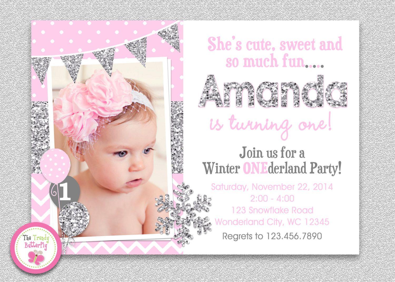 Create Winter Onederland Birthday Invitations Modern Templates ...