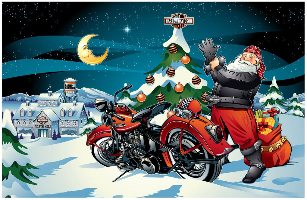 Pin By Vivian Antillon On X Mas Santas Motorcycle Christmas Christmas Facebook Cover Harley Davidson Art