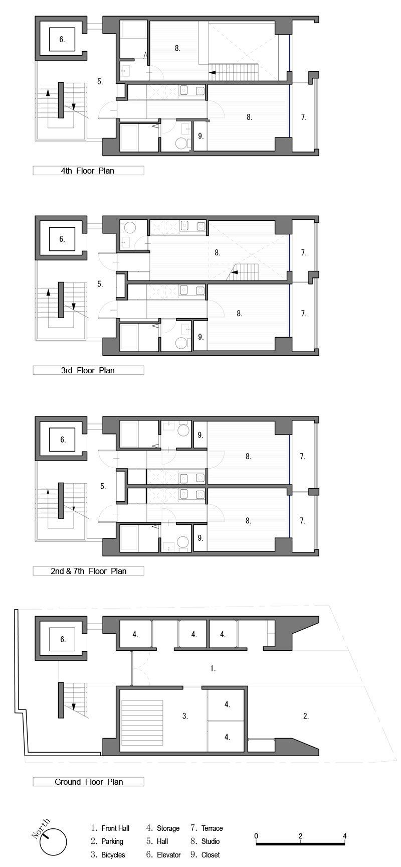 Apartment In Katayama Elevation Section And Floor Plans What We Do Is Secret Hotel Floor Plan House Plans With Pictures Apartment Floor Plans