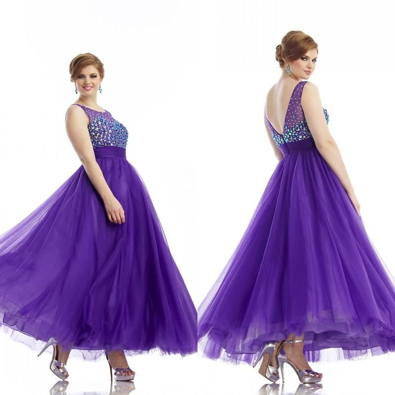 Charming Purple A Line Sheer Jewel Neckline Ankle Length Tulle ...