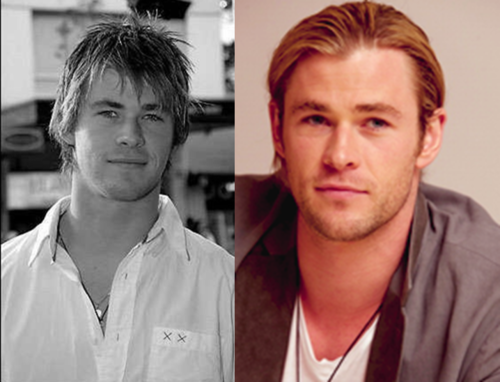 Chris HemsworthBefore:eh.his hairs kinda cool, and he's cute but I like him better now.<3<3 After:COOL!<3<3
