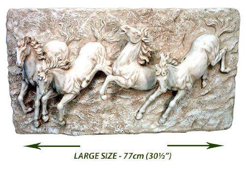 Large 4 Horses Wall Art Sculpture 77cm 3d Wall Plaque Wall Fu Wall Sculptures