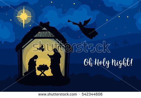 greeting card of traditional christian christmas nativity scene of