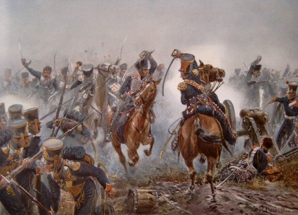 1813, Oct 16-19 Leipzig: Prussian hussars in battle. Royal Prussian Army of the Napoleonic Wars (Wikipedia)
