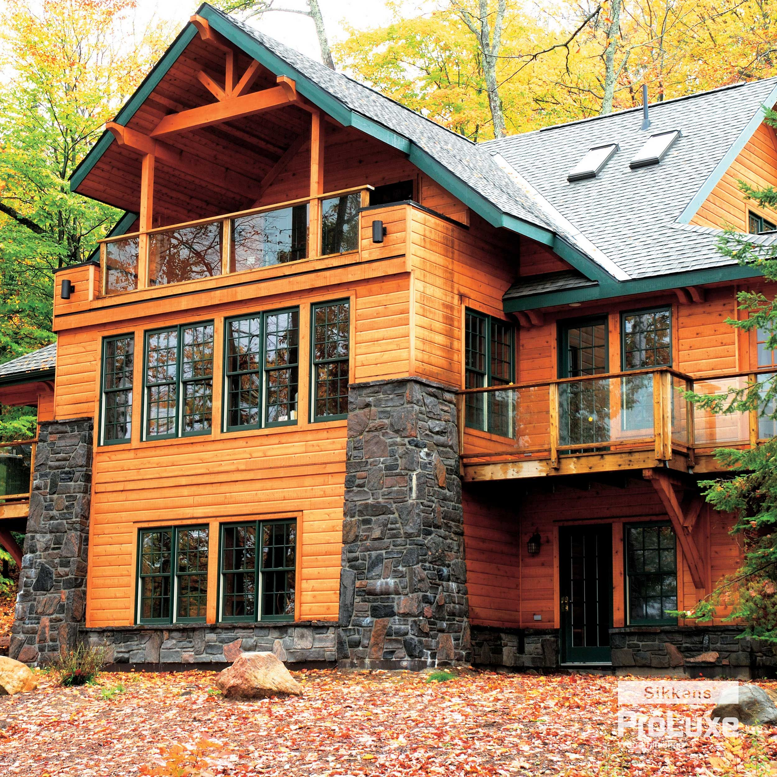 A Beautiful Blend Of Traditional And Contemporary Styles Finished With Sikkens Proluxe Cetol Log Siding In Natural Alaska House Alaskan Homes Log Homes