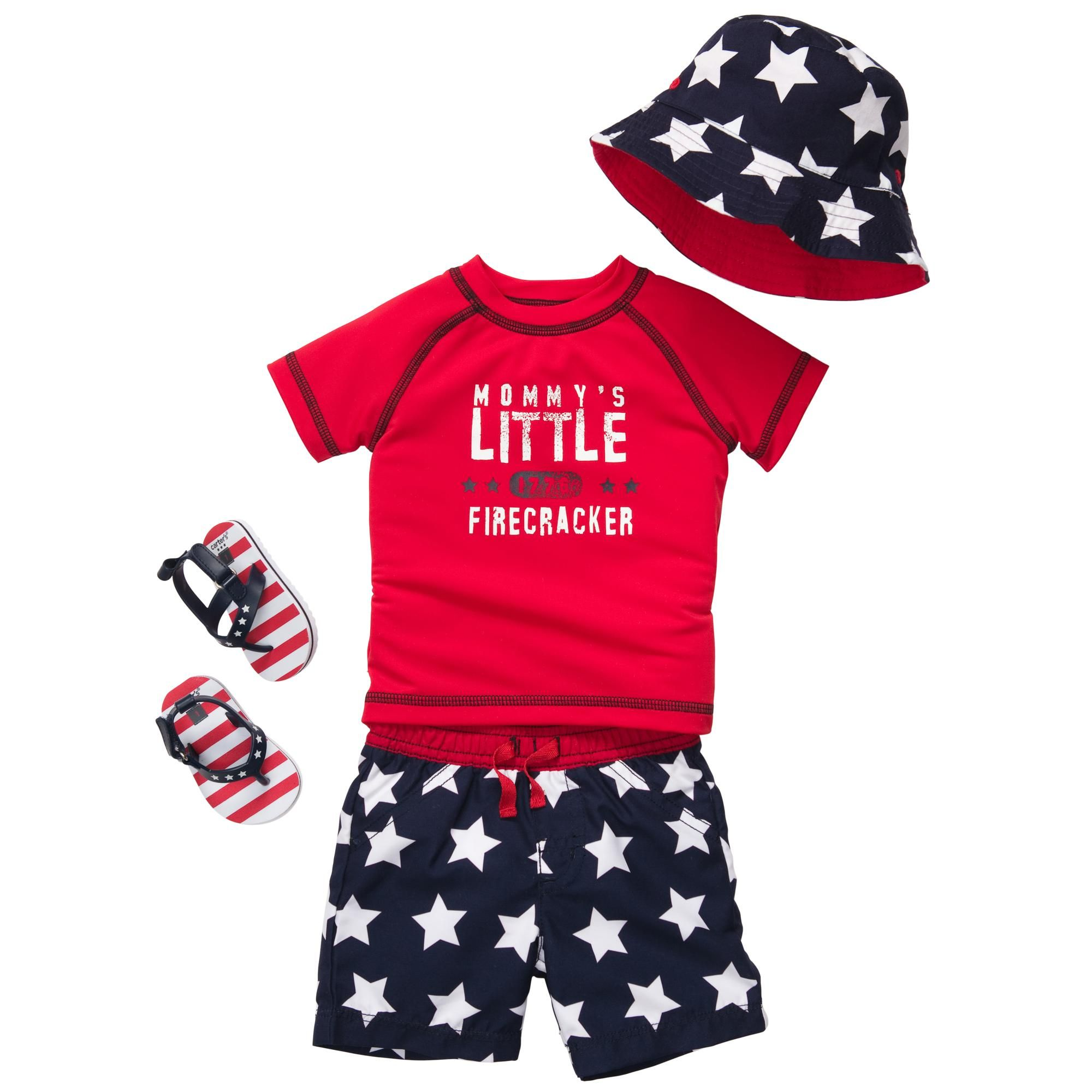 Carters Baby Boys Fourth of July Jersey Tee Red 3 Months