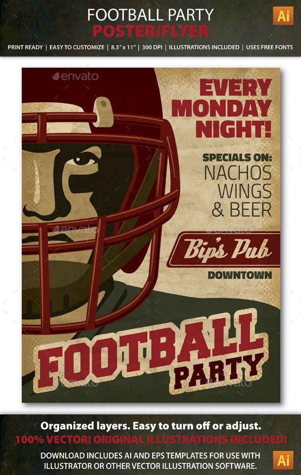 Retro Football Party Event Poster Or Flyer Retro Football Flyer