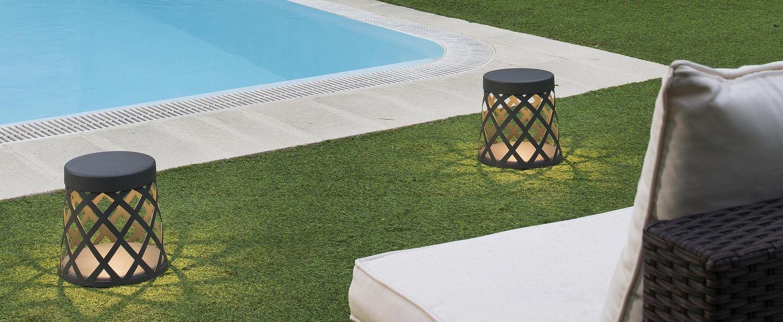 Borne shadow gris 245cm faro luminaire de jardin for Faros para jardin