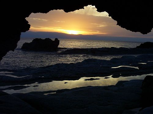 sunset from a cave by mrcharly, via Flickr