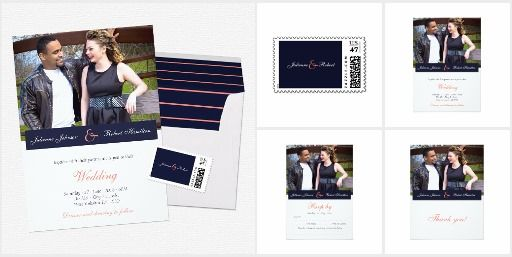 Simple and elegant modern photo wedding suite, features your custom photo with the names in a beautiful white script typo over a blue background with a big peach ampersand, perfect for any modern or contemporary celebration.
