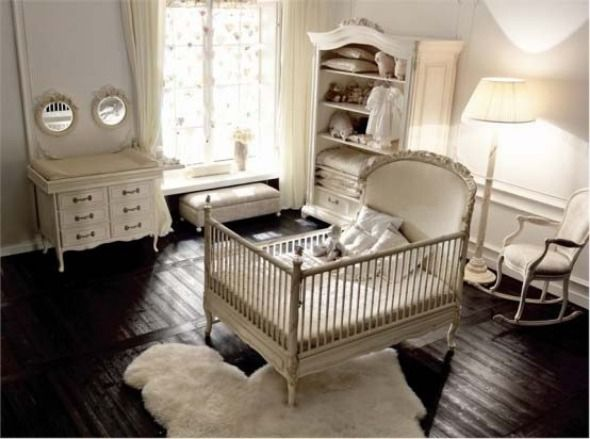 Chic Adorable And Glamorous Baby Nursery Room Decoration Idea With Warmth Wooden Flooring