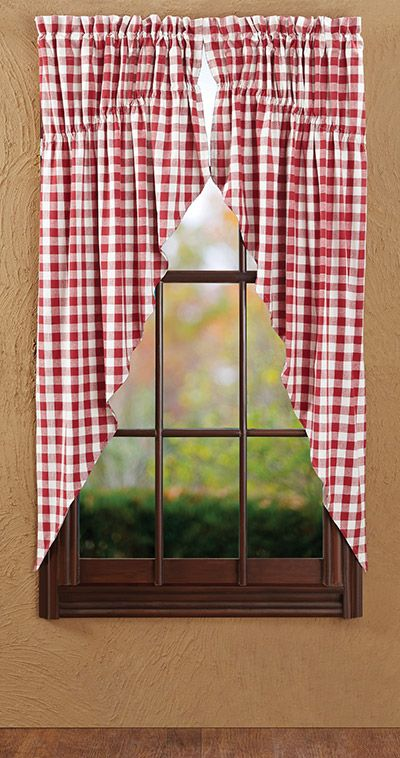 Buffalo Check Red Prairie Curtain By Nancys Nook For Victorian Heart The Collection Features A Classic Sized Checked 72 Inches