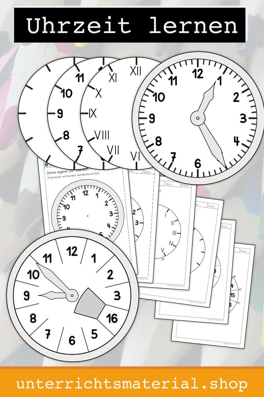 Uhr Basteln in 9  Basteln und lernen, Uhrzeit lernen, Uhr