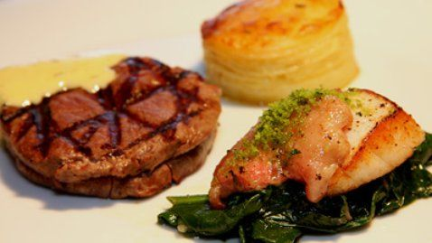 Pan Fried Fillet of Beef and Scallops Served with Gratin Dauphinois and wilted spinach - RTE Food