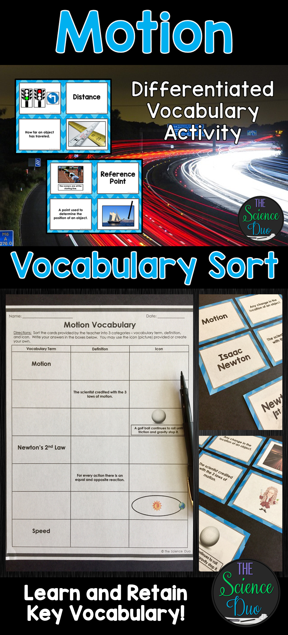 Motion Vocabulary Sort Force and motion, Middle school