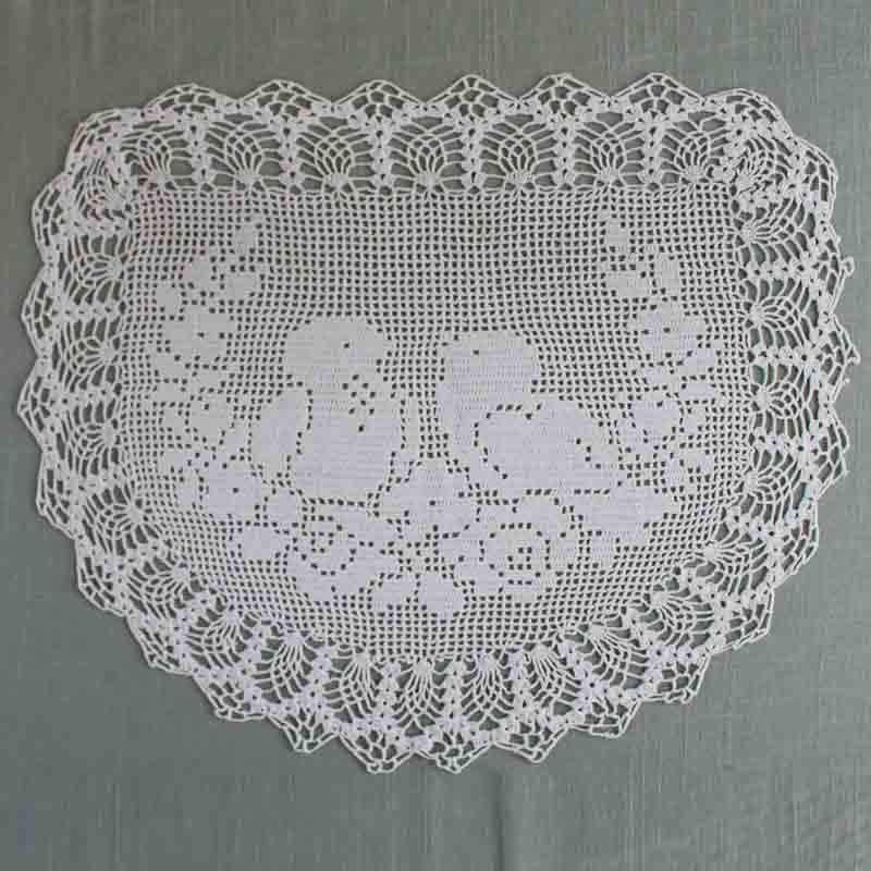 Vintage Filet Crochet Pattern Chair Back&Oval Doily Birds&Roses ...