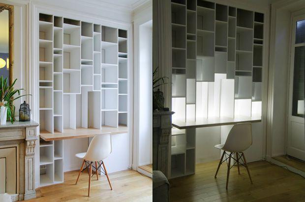 id e d co pour une biblioth que blanche en clairage. Black Bedroom Furniture Sets. Home Design Ideas