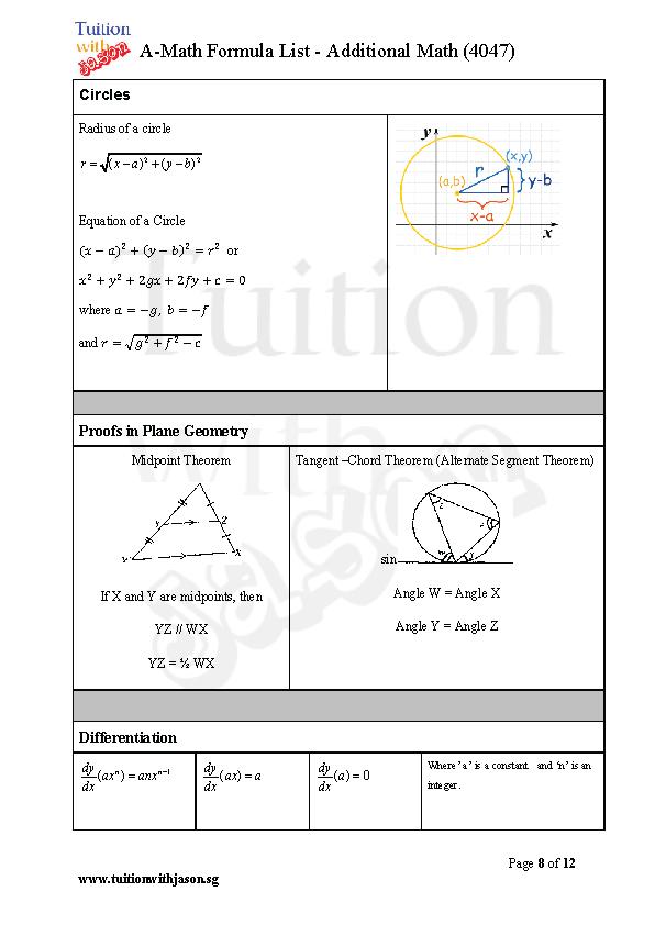 Additional Math A Math And Math E Math Formula Sheet For Gce O Levels Maths Formulas List Math Formulas O Level Maths