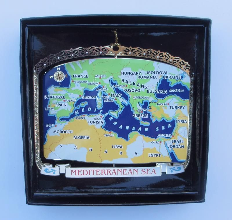 Europe Custom Made Ornament - One of a Kind - Makes a unique and sentimental gift for anyone you have traveled with, an anniversary gift to commemorate your honeymoon, a fun way to present a surprise vacation to the Mediterranean Sea area ....