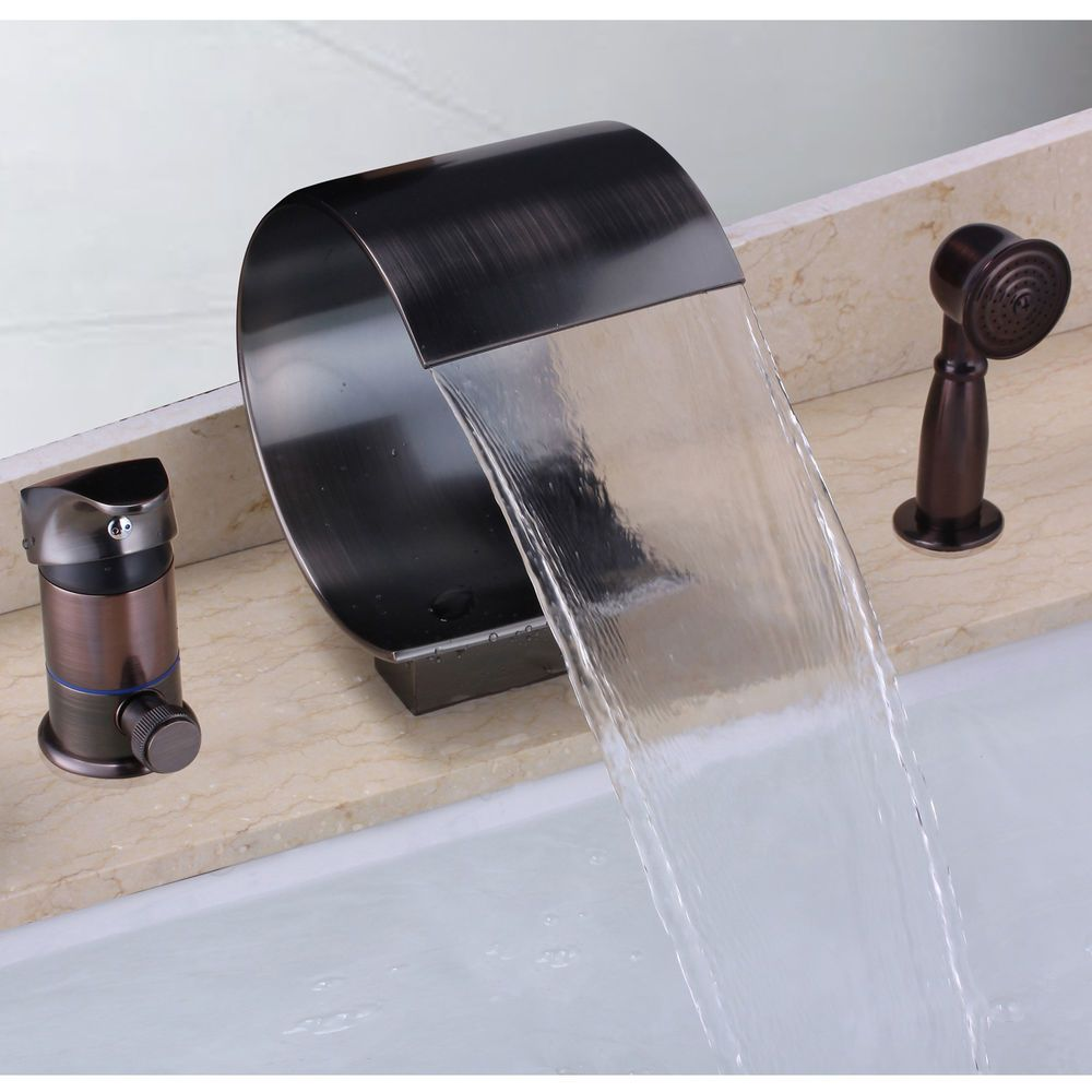 Waterfall Oil Rubbed Bronze 3 Hole Bath Mixer Filler Tap