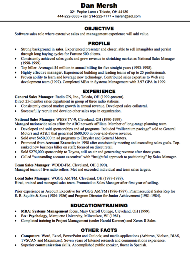 Sales Management Resume Samples Examples Resume Cv