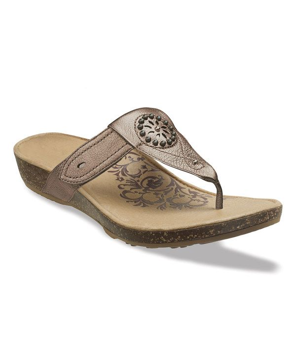 8d56144ba6bc Look at this Bronze Emily Leather Flip-Flop on  zulily today!